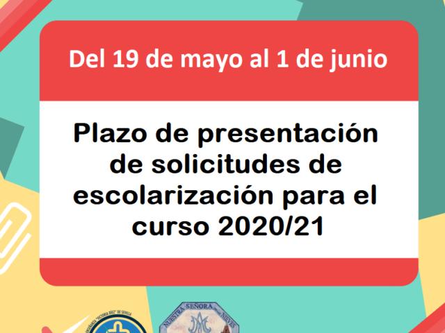 PLAZO DE PRESENTACIÓN SOLICITUDES DE ESCOLARIZACIÓN