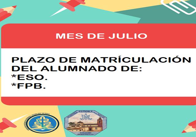PLAZO DE MATRICULACIÓN (ESO y FPB)