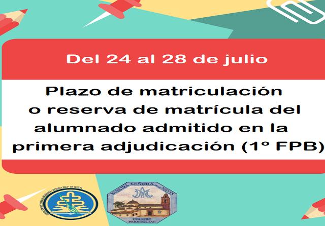 PLAZO DE MATRICULACIÓN PRIMERA ADJUDICACIÓN(FPB) - copia