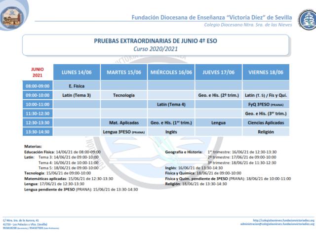 2021 PRUEBAS Extraordinarias JUNIO 4ESO