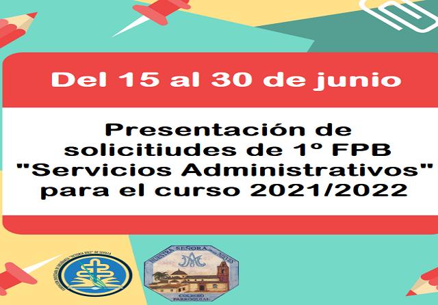 PLAZO DE PRESENTACIÓN SOLICITUDES DE ESCOLARIZACIÓN 1º FPB - copia