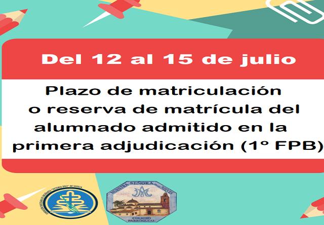 PLAZO DE MATRICULACIÓN PRIMERA ADJUDICACIÓN(FPB)